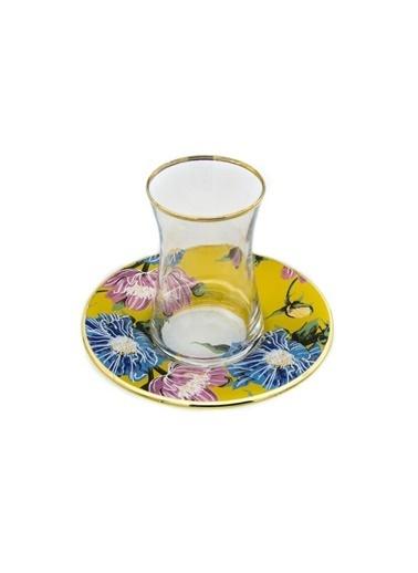 Marianna Flower Sarı Cam Çay Seti 12 Parça Sarı